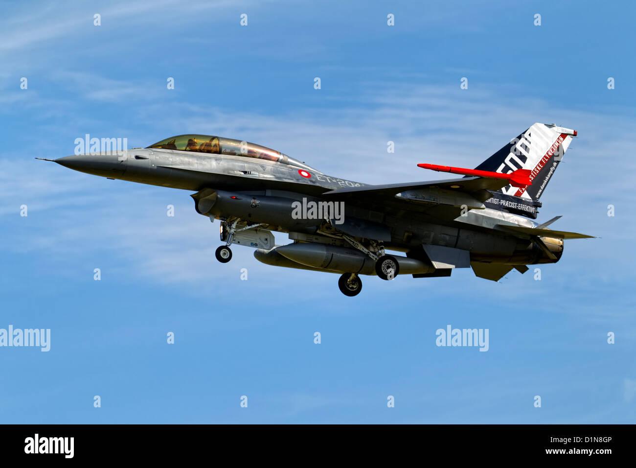 General Dynamics (SABCA) F-16BM Fighting Falcon (401) ET 204 Danish Air Force lands at RNAS Yeovilton International - Stock Image