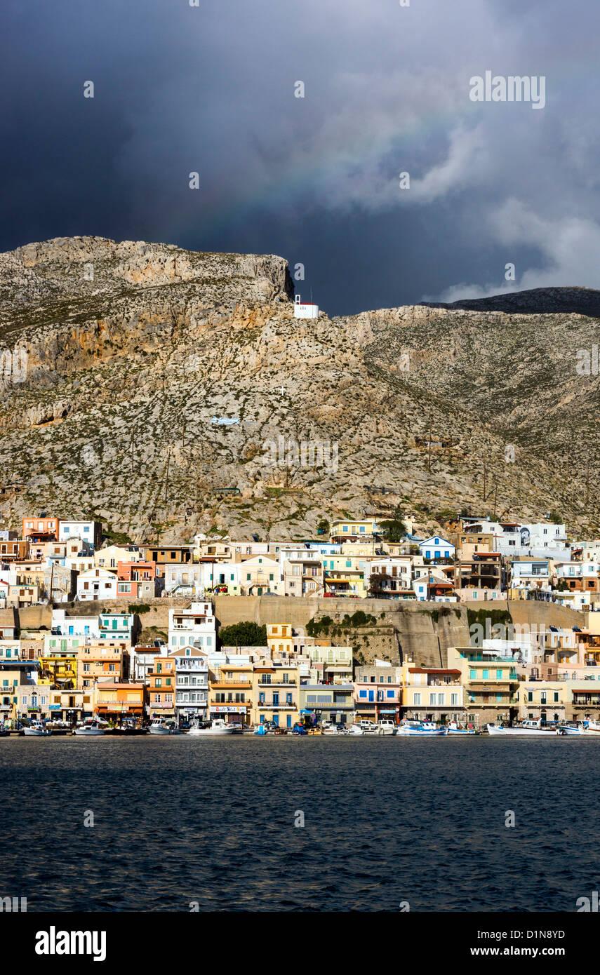 Pothia, port town of Kalymnos, with dark skies - Stock Image