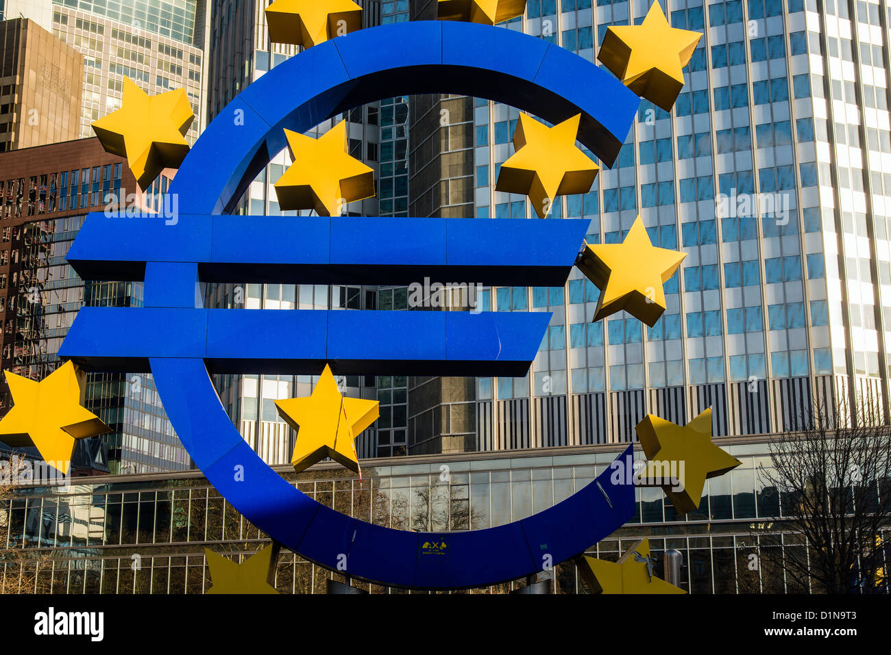 Euro monument located at the entrance of the European Central Bank headquarters, Frankfurt am Main, Hesse, Germany - Stock Image