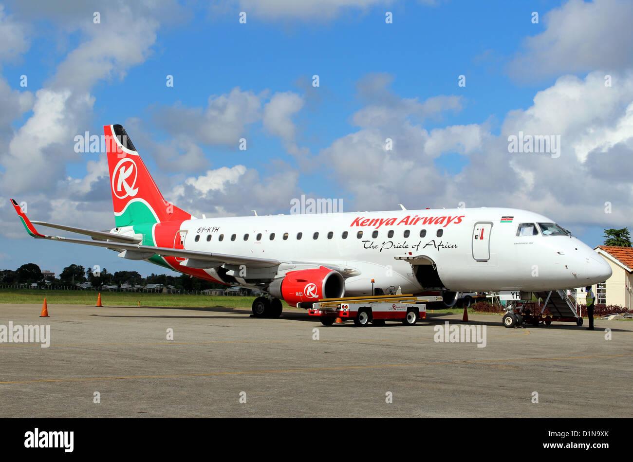 Kenya Airways plane, Malindi airport, Kenya, East Africa - Stock Image