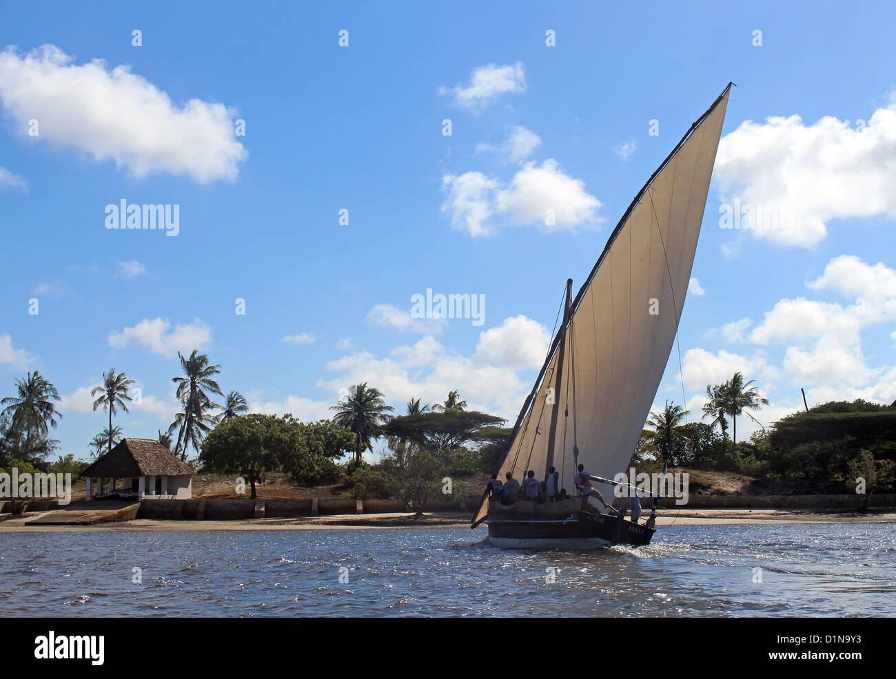 Sailing boat on Lamu Archipelago, Lamu Island, Kenya, East Africa - Stock Image
