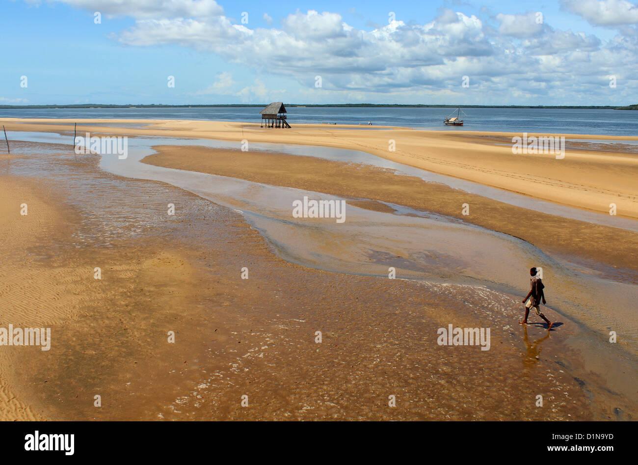 Beach and shore front at the Kipungani Explorer beach resort, Lamu Island, Kenya, East Africa - Stock Image