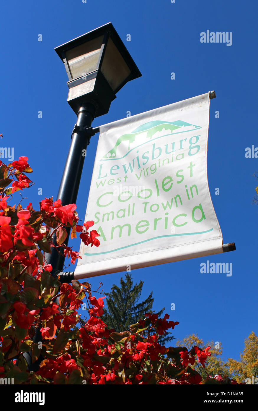 Lewisburg, coolest small town in America sign, West Virginia, America, USA - Stock Image