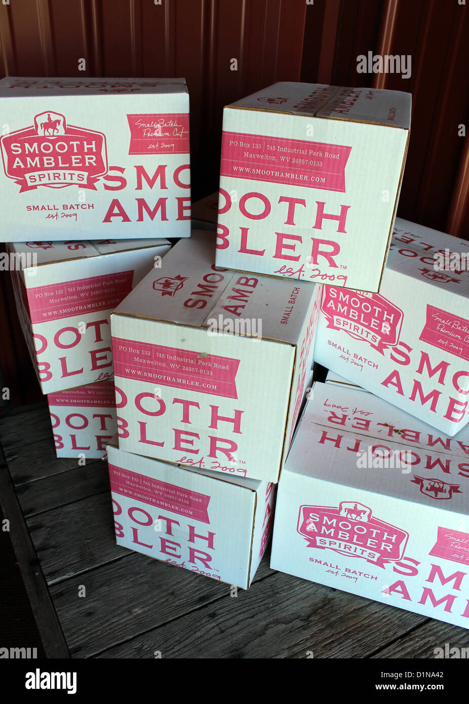 Smooth Ambler spirits boxes, West Virginia, America, USA - Stock Image