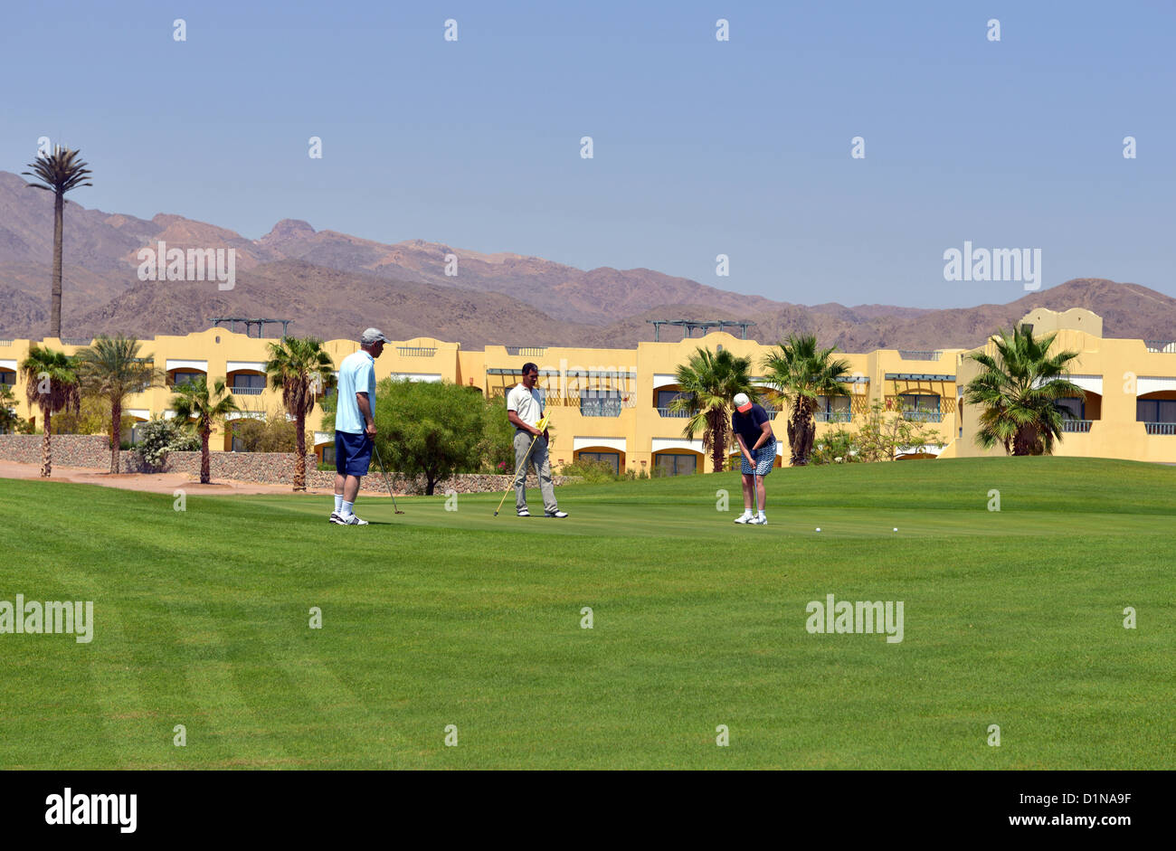 Golf course, Taba Heights holiday resort complex at Sinai in Egypt. - Stock Image