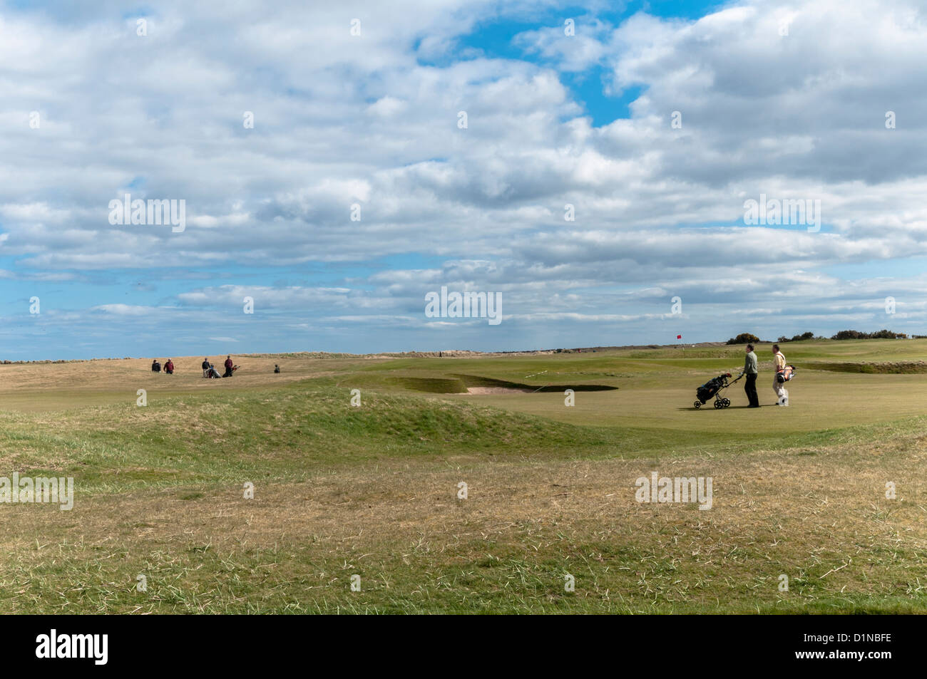 Golf links at Carnoustie Angus Scotland - Stock Image