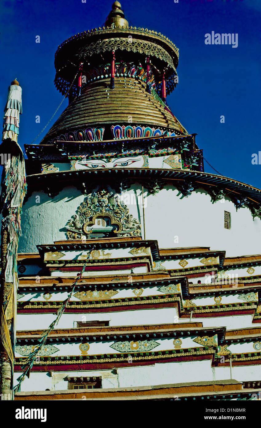 The Newari style Kumbum Stupa at Palcho Chode Monastery, Gyangtse,Tibet - Stock Image