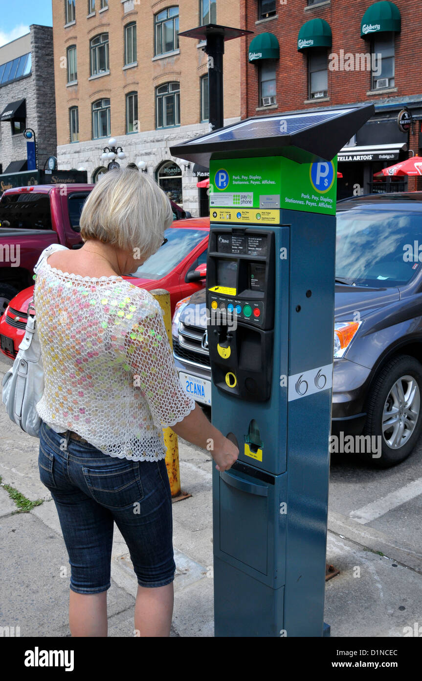 State of the art parking pay station Ottawa Ontario Canada National Capital City - Stock Image