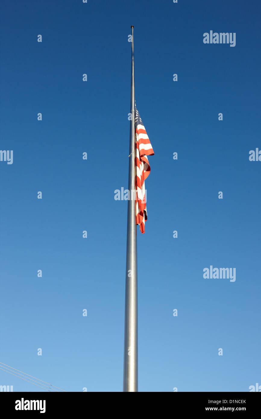 us flag flying at half mast Las Vegas Nevada USA - Stock Image