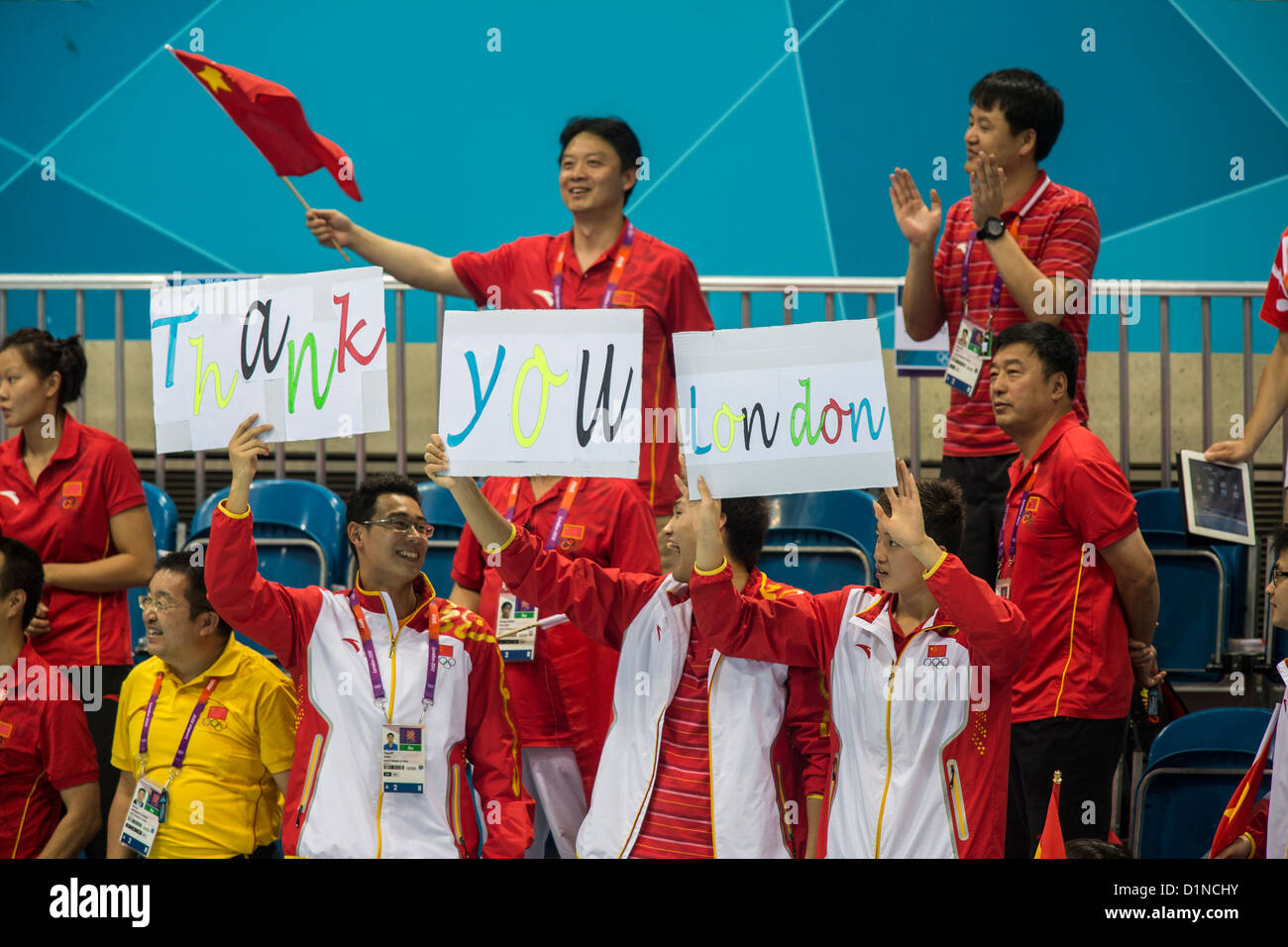 Chinese swimmers and coaches at the Olympic Summer Games, London 2012 - Stock Image
