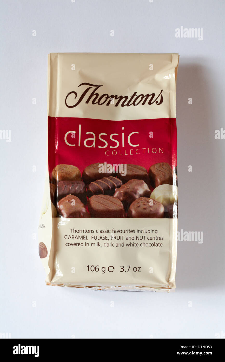 packet of Thorntons classic collection chocolates isolated on white background - Stock Image