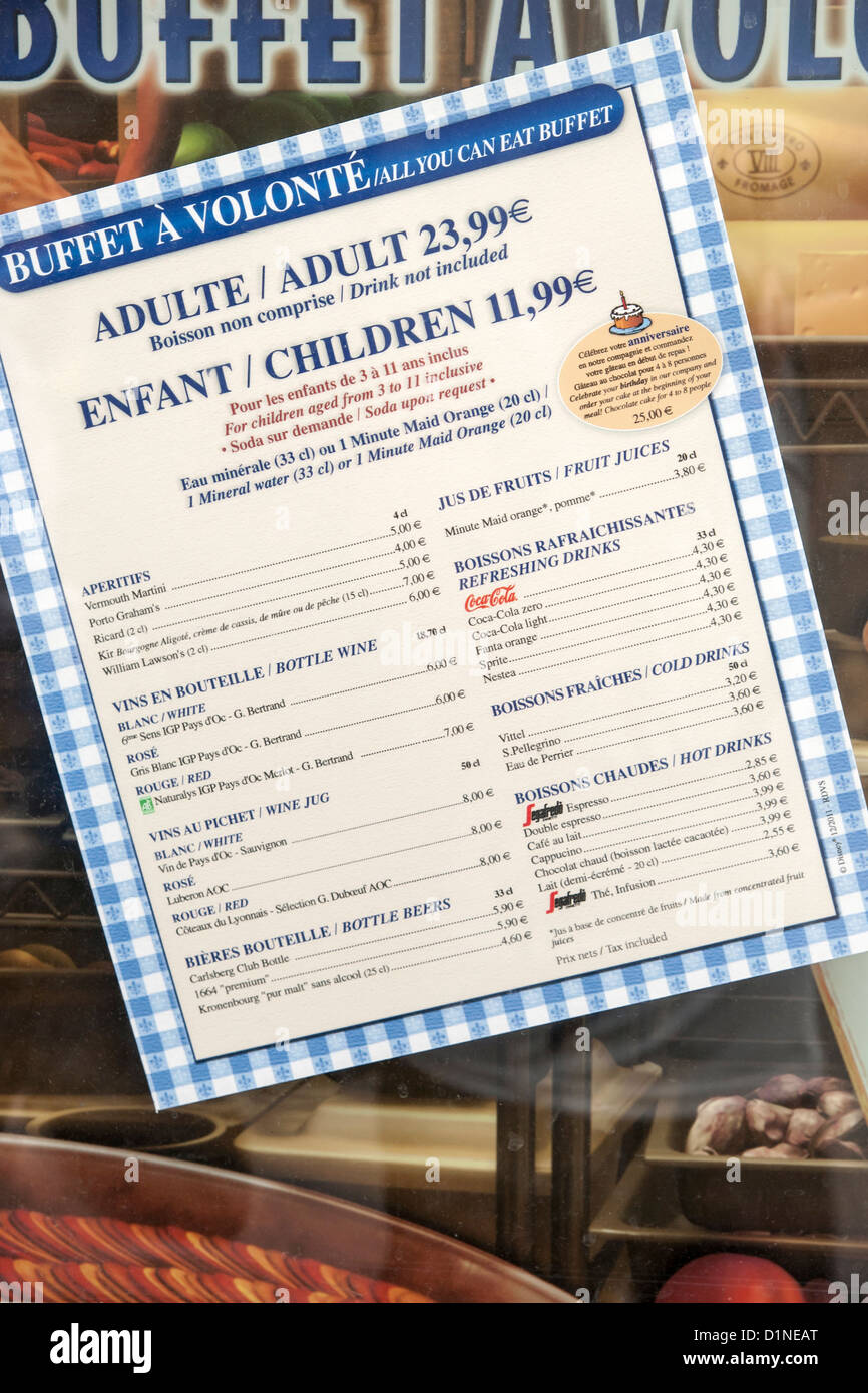 food menu prices in euro's from disneyland paris france 2012 stock