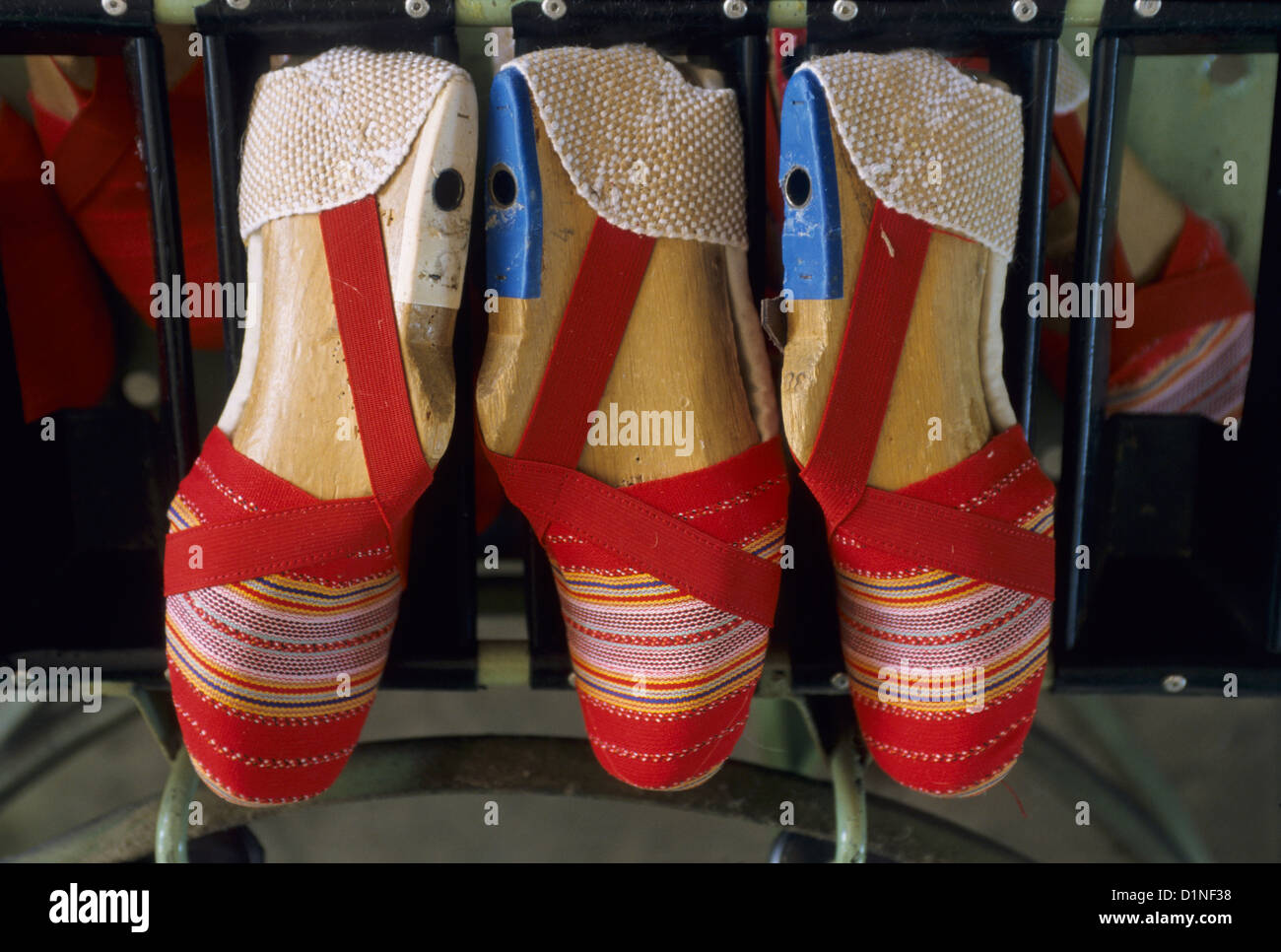 Assembly jigs and unfinish Catalan sandal craft factory of St Laurent de Cerdans, Eastern Pyrenees, Languedoc-Roussillon, Stock Photo