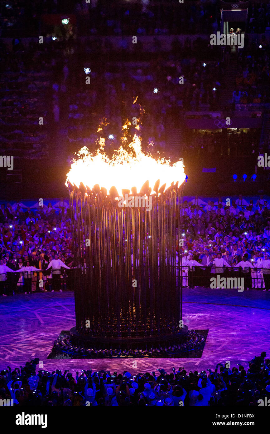 Olympic Flame at the Opening Ceremonies, Olympics London 2012 - Stock Image