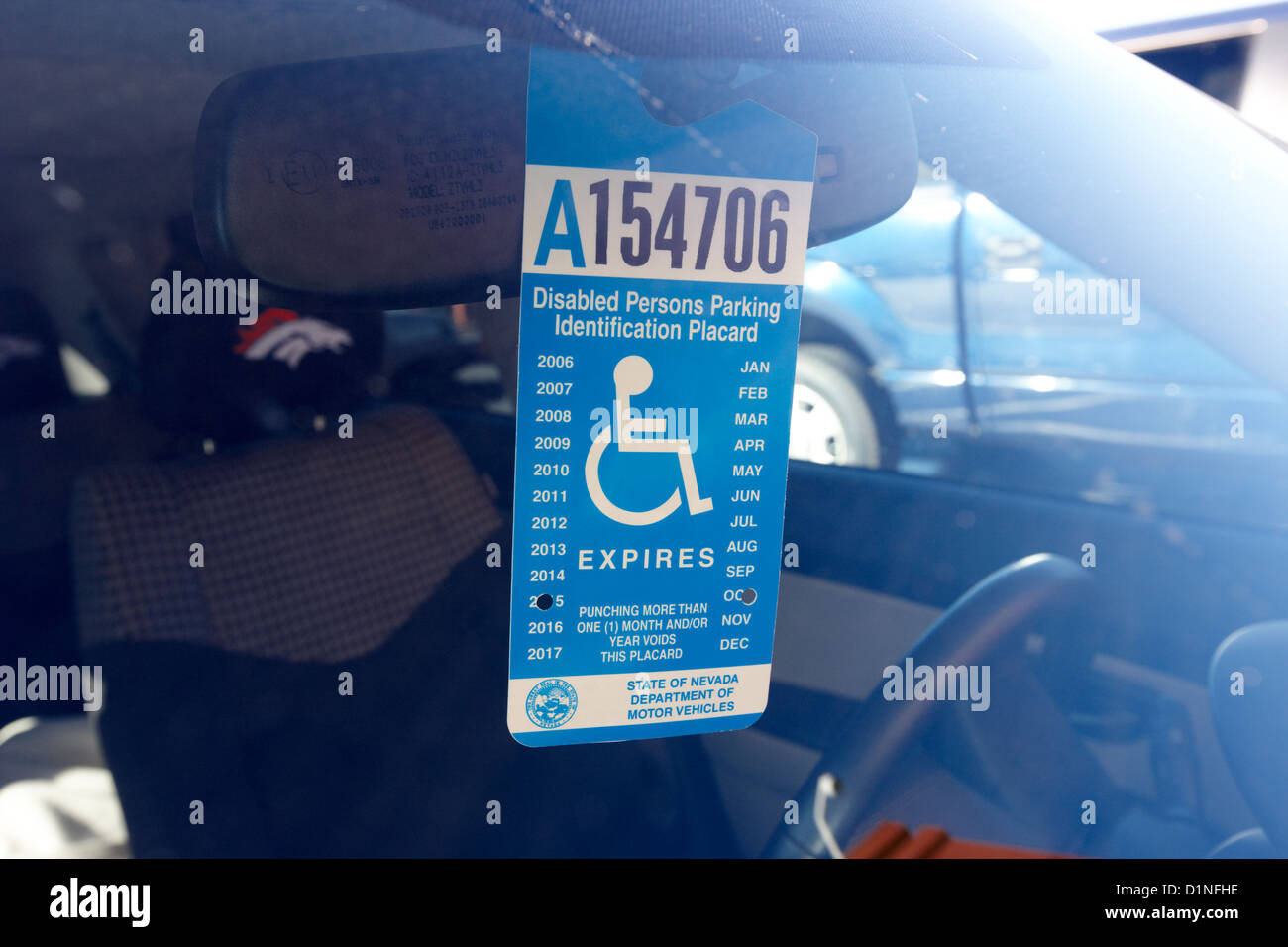disabled persons parking identification placard Las Vegas Nevada USA & disabled persons parking identification placard Las Vegas Nevada USA ...