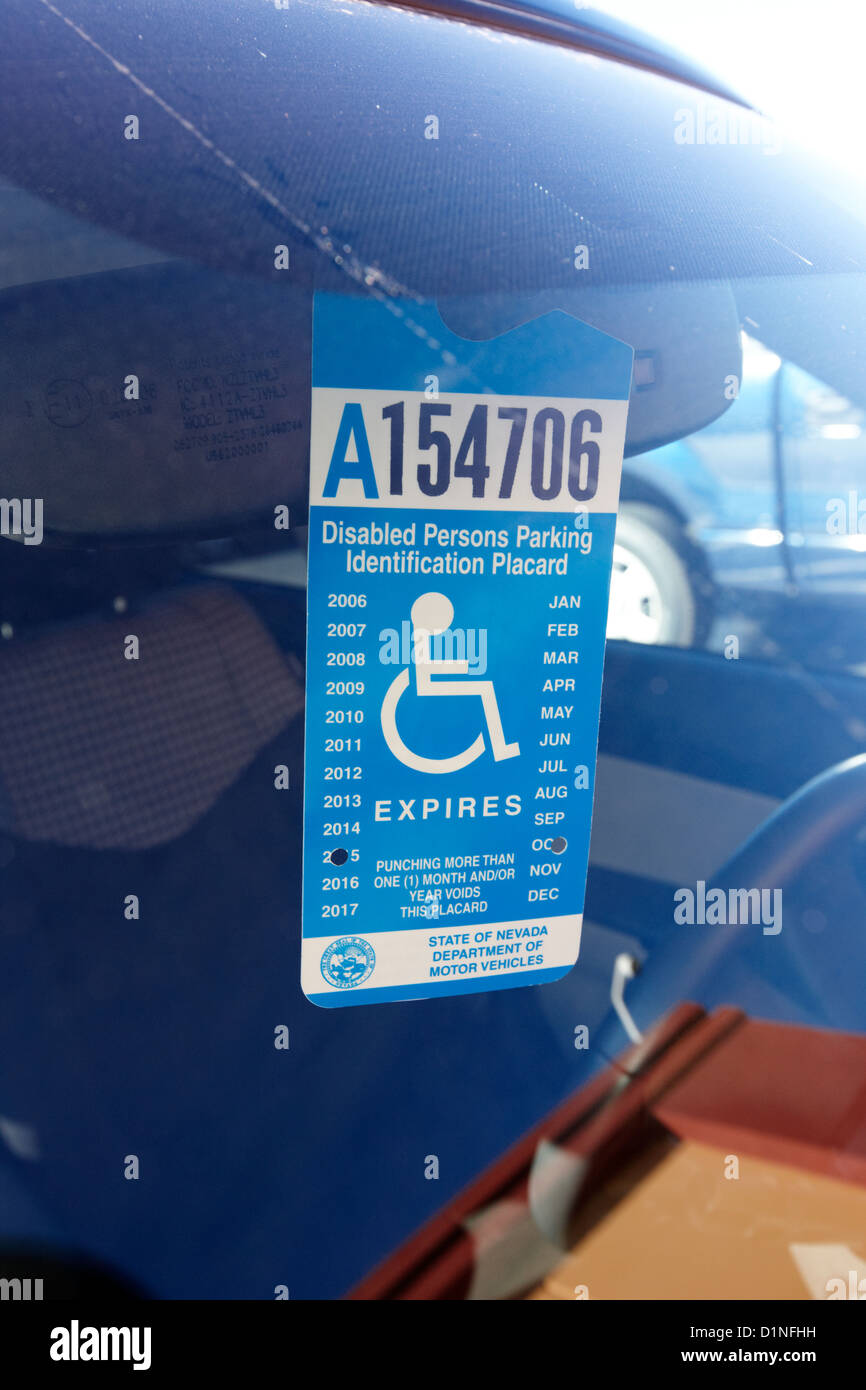 disabled persons parking identification placard Las Vegas Nevada USA - Stock Image