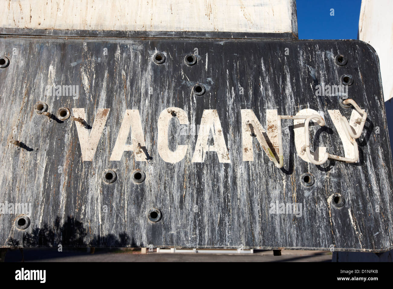 damaged neon vacancy sign at empty abandoned old motel on the strip Las Vegas Nevada USA - Stock Image