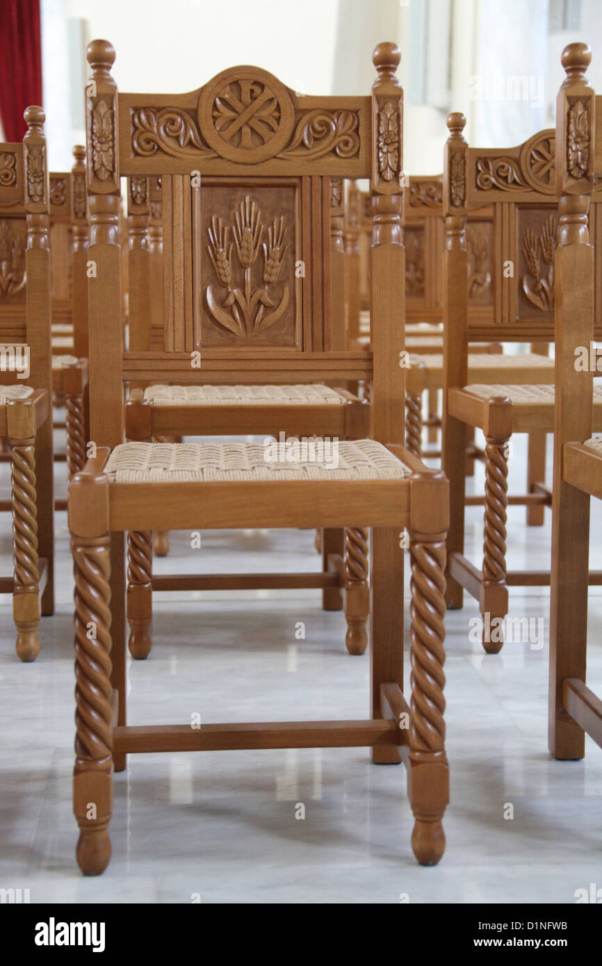 Chairs inside the new Orthodox Cathedral of the Resurrection of Christ in Tirana which is the Capital of Albania - Stock Image