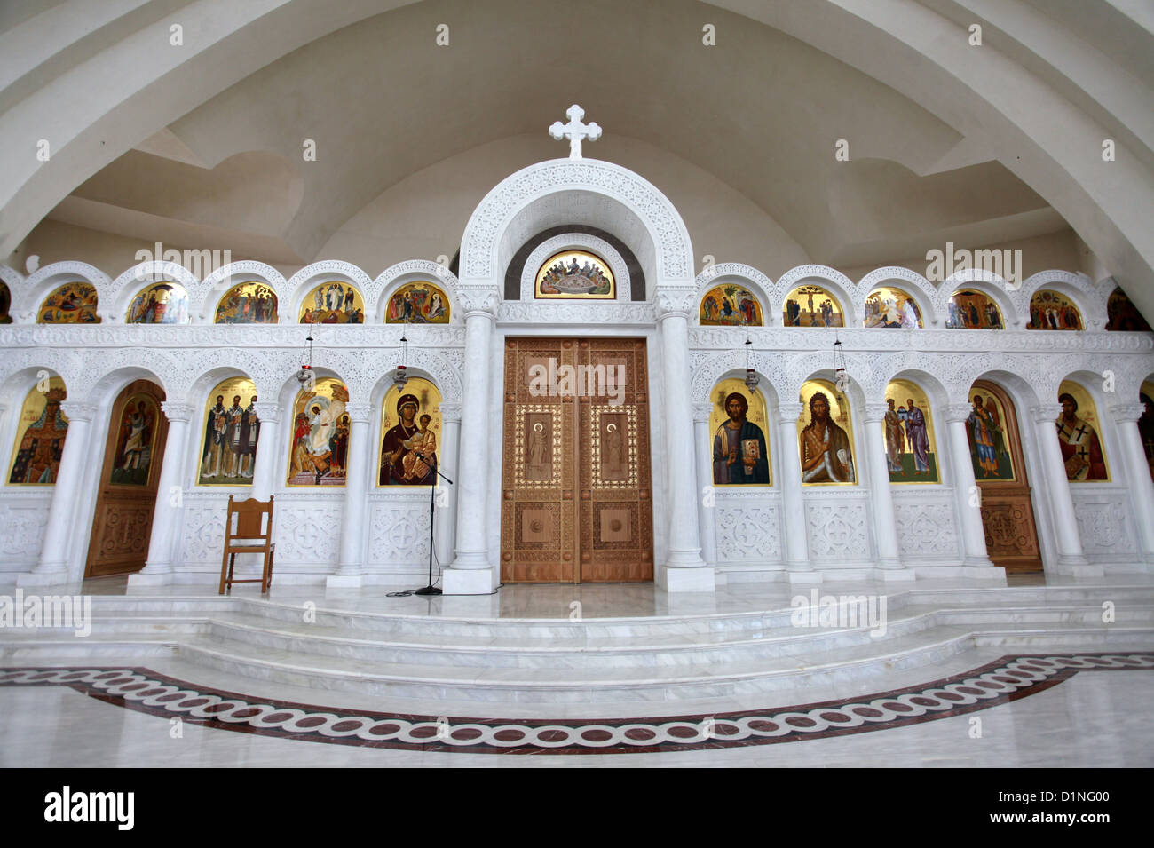 Inside the new Orthodox Cathedral of the Resurrection of Christ in Tirana which was opened in June 2012 - Stock Image
