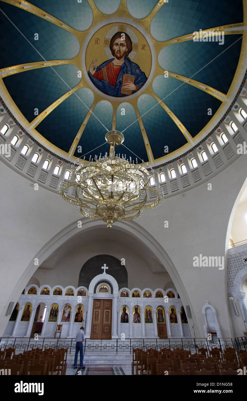 Interior of the new Orthodox Cathedral of the Resurrection of Christ in Tirana - Stock Image