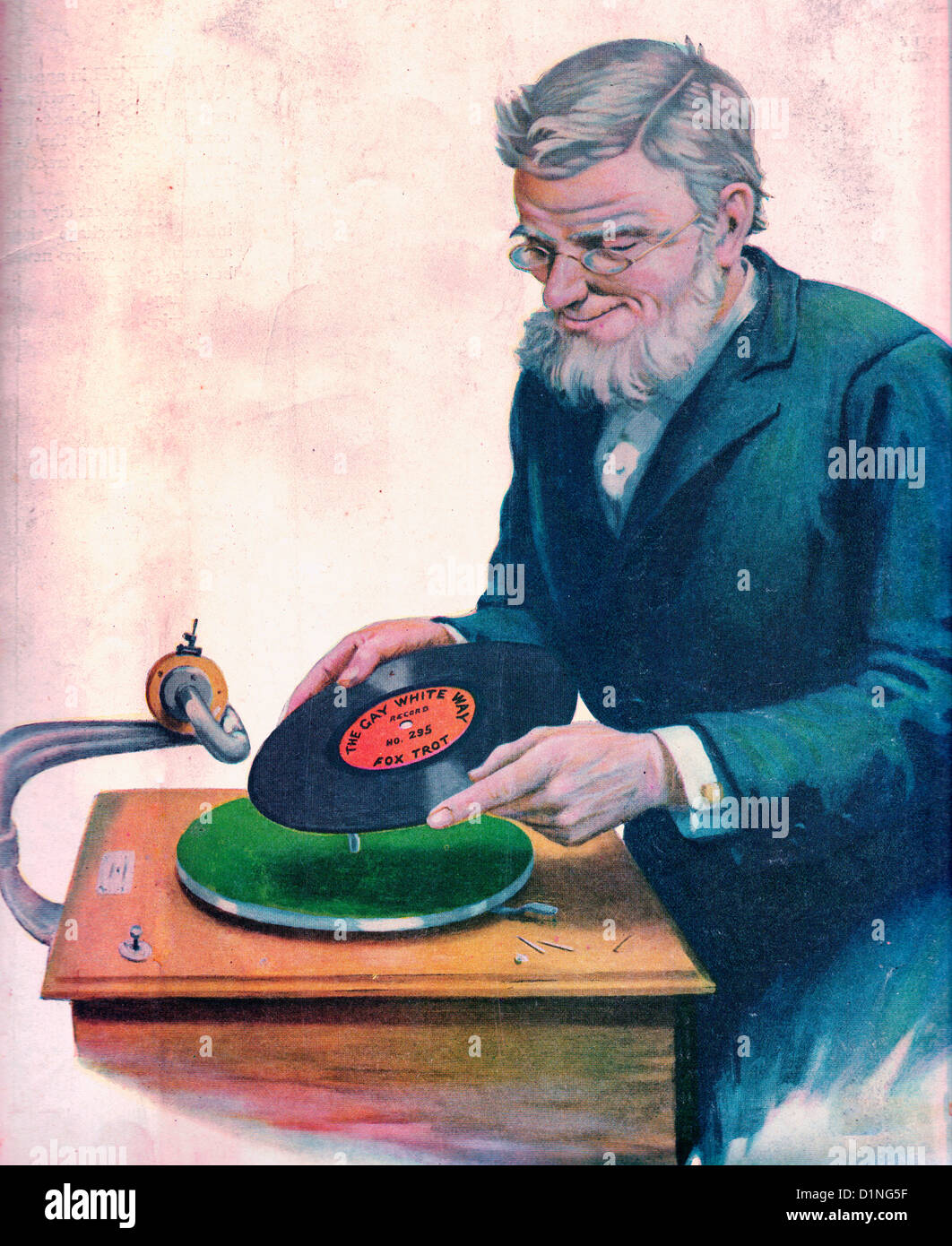 Older man putting a record on a phonograph - The Gay White Way - Fox trot - circa 1919 - Stock Image