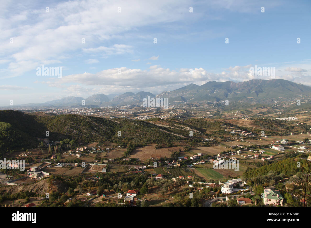 View of Tirana the Capital of Albania and the Erzen Valley taken from Petrele Castle - Stock Image