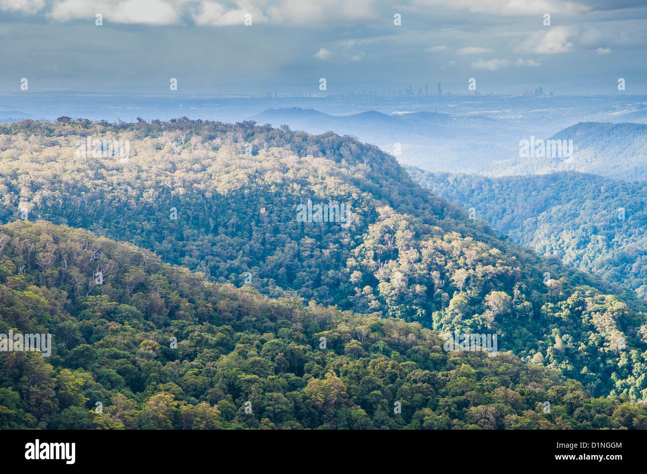 View of Surfers Paradise from Springbrook National Park, Gold Coast hinterland, Queensland, Australia - Stock Image