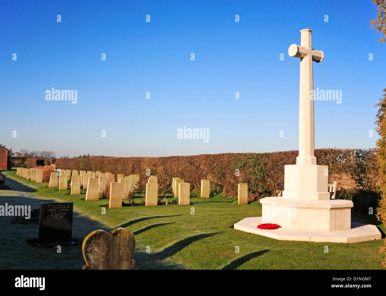 A view of the war graves plot and headstones for service personnel at Scottow Cemetery, Norfolk, England, United Stock Photo