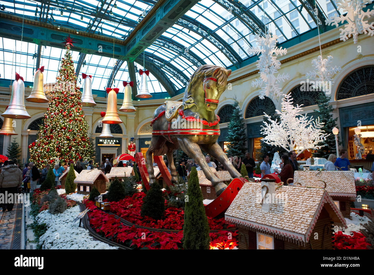 christmas decorations in the bellagio gardens las vegas nevada usa stock image - Las Vegas Christmas Decorations
