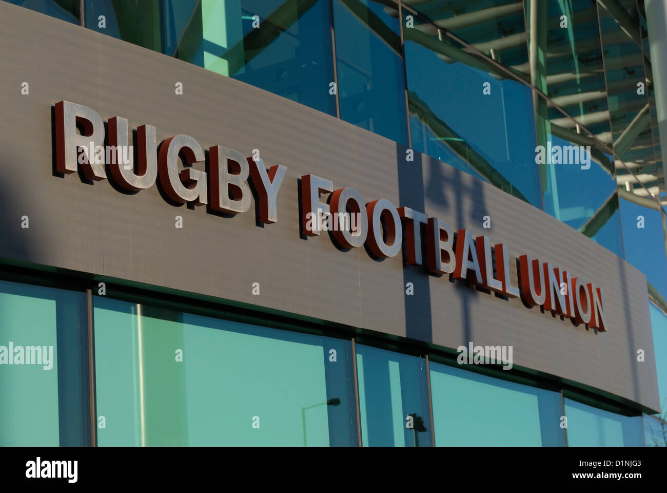 rugby football union sign above the entrance to the main offices of twickenham stadium, middlesex, england - Stock Image