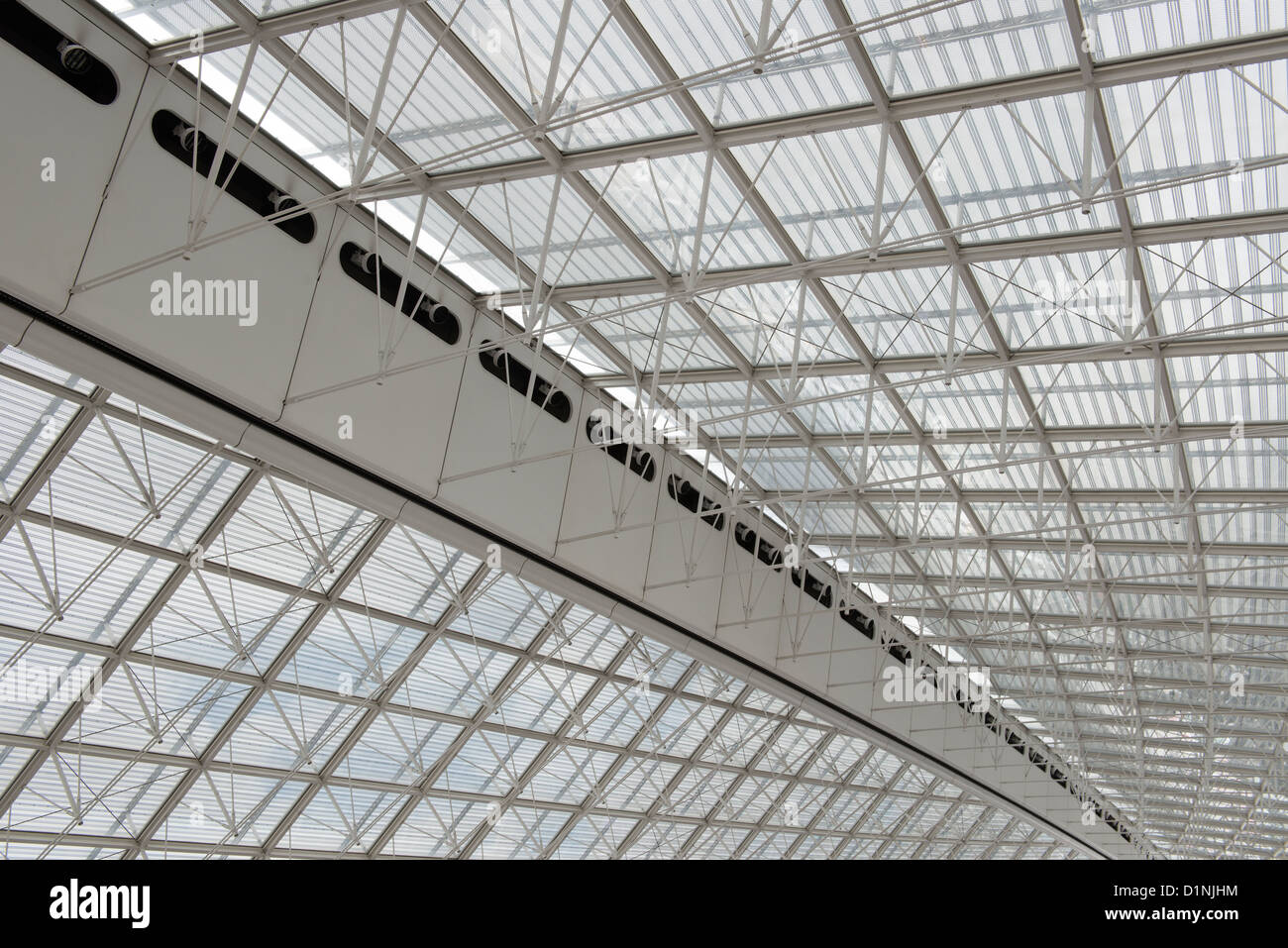 Steel and glass roof of terminal 2. Charles De Gaulle airport, Paris, France. - Stock Image
