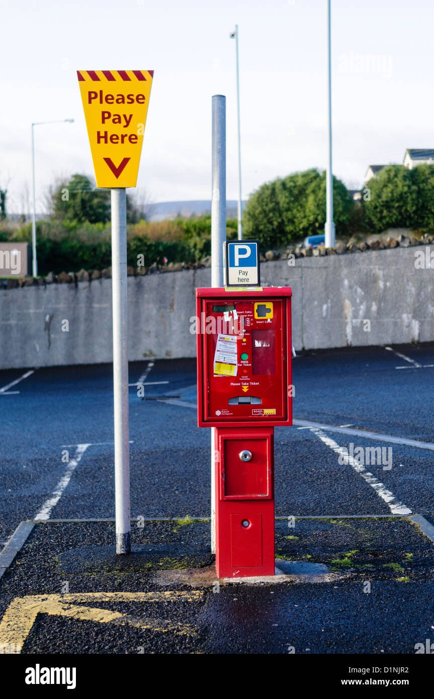 Ticket machine at a pay and display car park - Stock Image