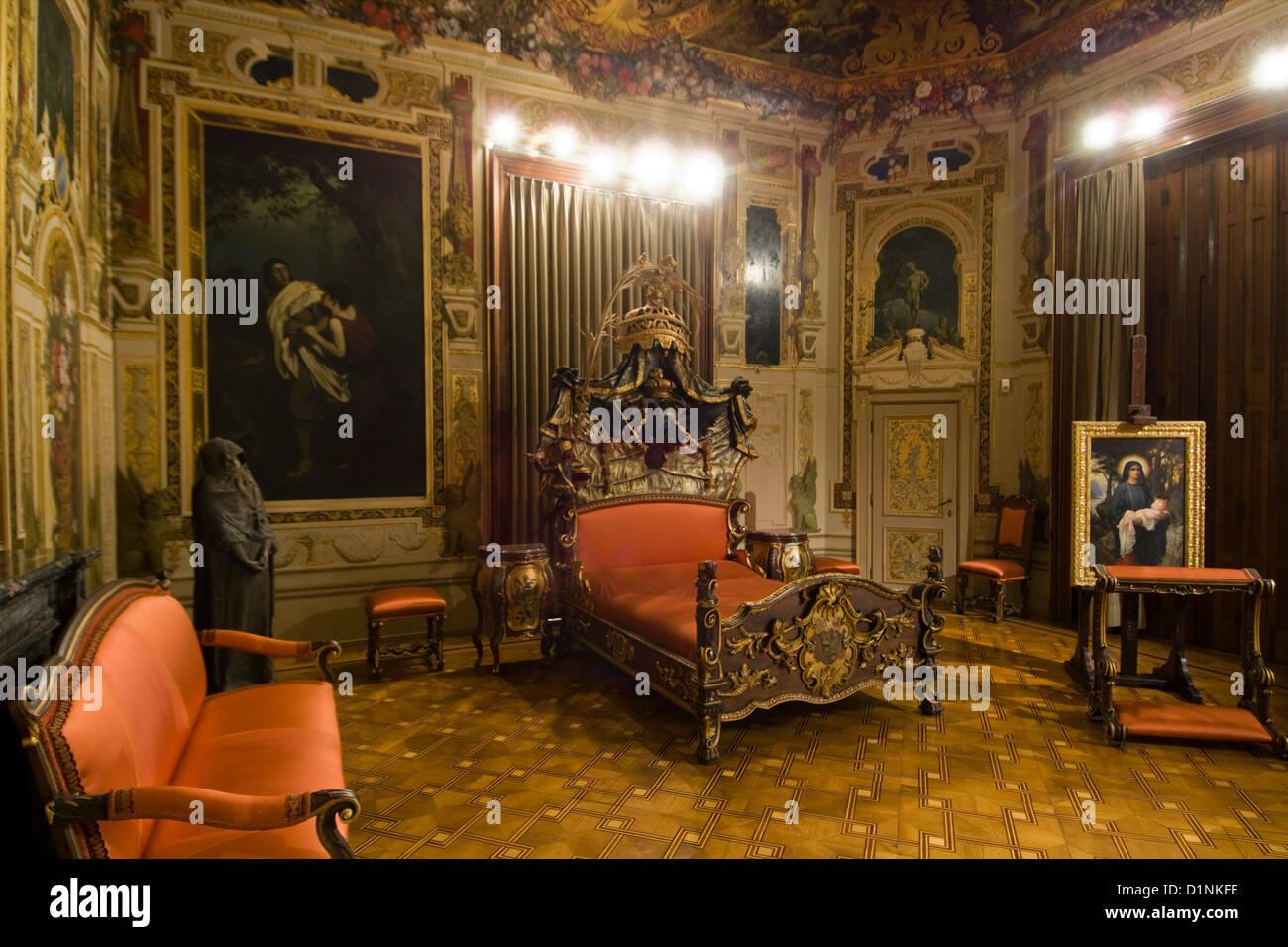 Österreich, Wien 13, Schlafzimmer von Kaiserin Elisabeth von Stock ...