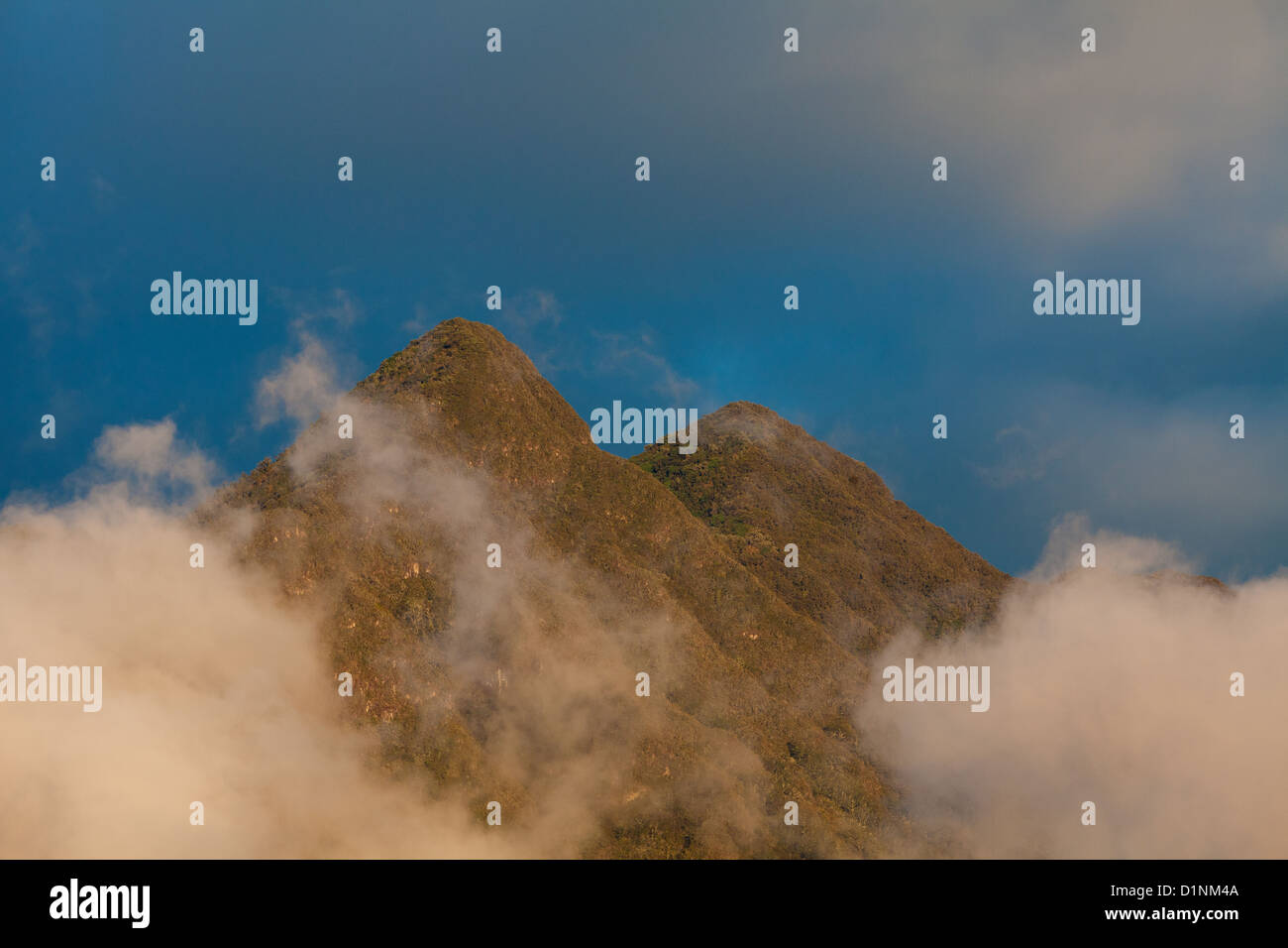 Evening light on two peaks in Volcan Baru national park, Chiriqui province, Republic of Panama. - Stock Image