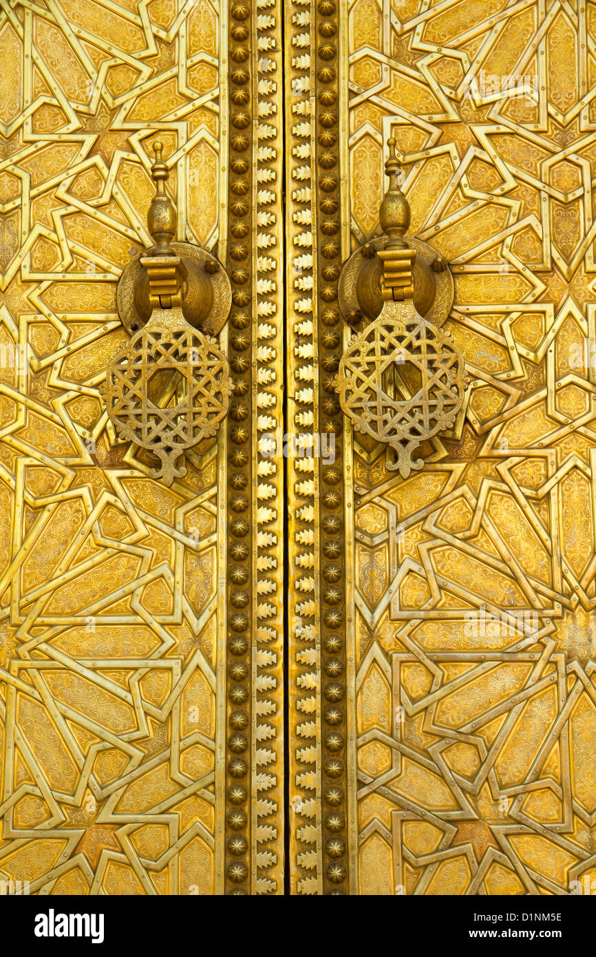 Gilded metalwork of Attarine Medersa - Stock Image