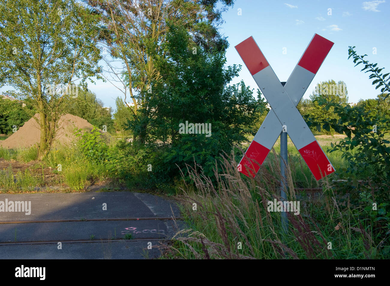 Berlin, Germany, and St. Andrew's cross on the tracks Gleisdreiecksgelaende Stock Photo