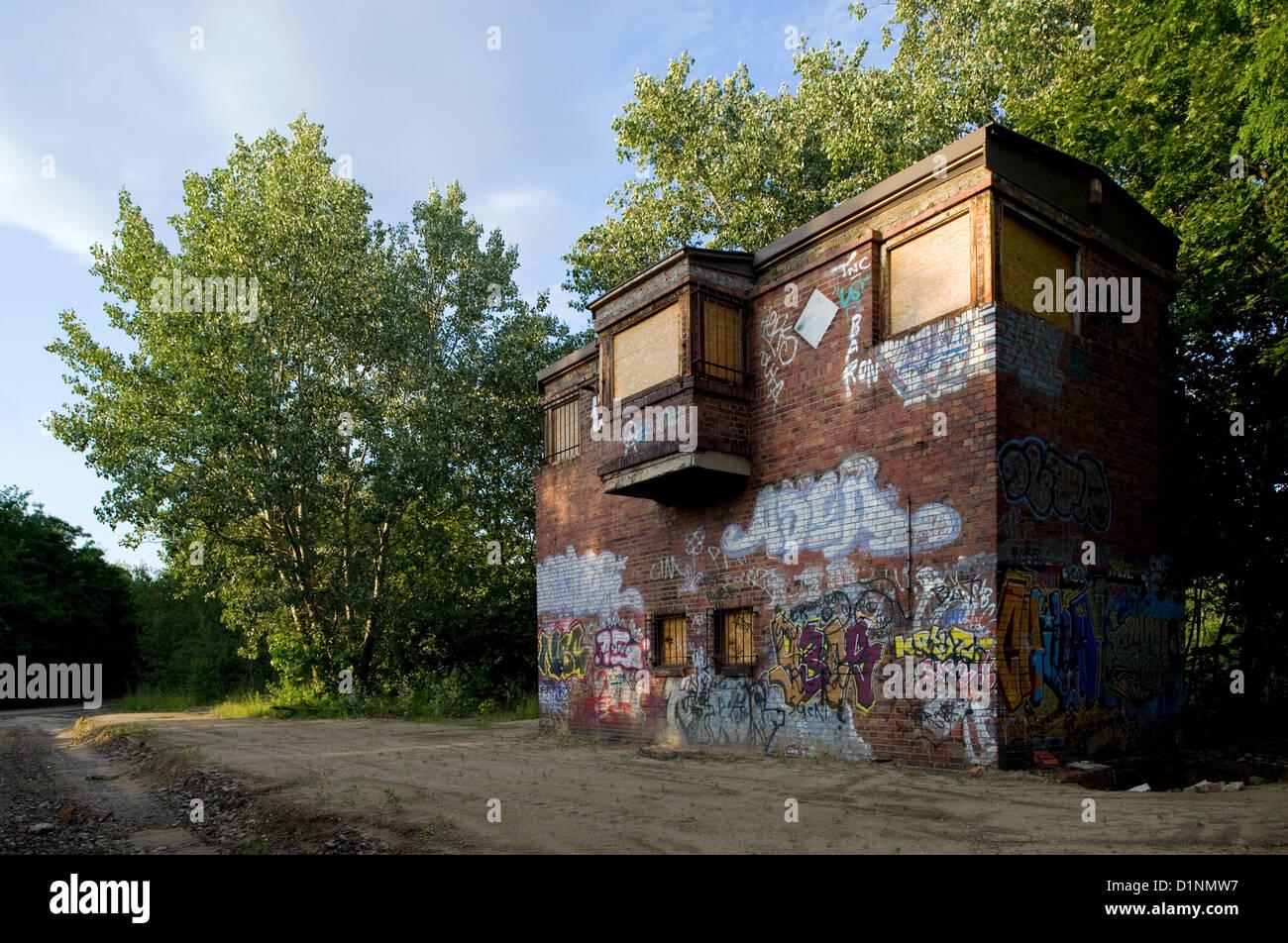 Berlin, Germany, disused signal box above the Yorkbruecken - Stock Image