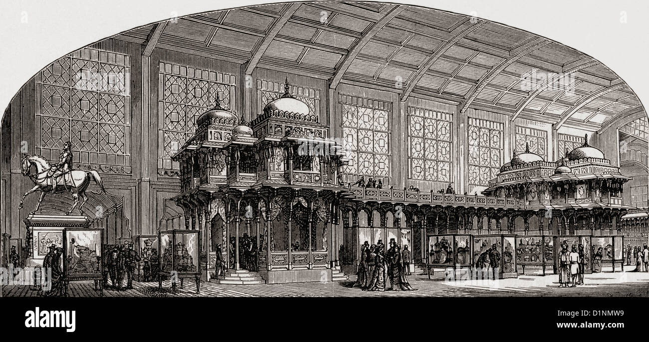 The Indian Pavilion, housed in the buildings of the Champ de Mars, Paris, France during the Paris Universal Exhibition - Stock Image