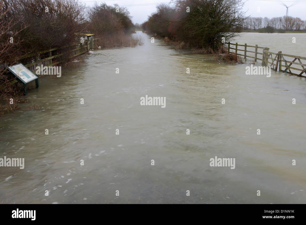 Peterborough, UK. 1st Jan, 2013.View of the Flooded river Nene, Whittlesey Washes, Peterborough, Cambridgeshire, - Stock Image