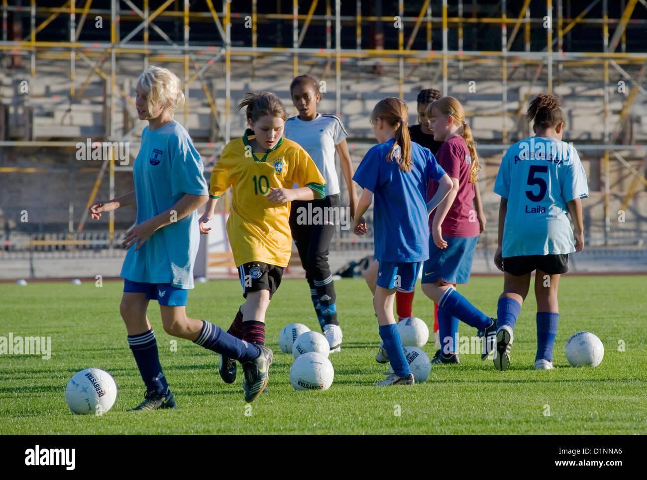 Berlin, Germany, Maedchenmannschaft of SC Union 06 in Poststadion - Stock Image