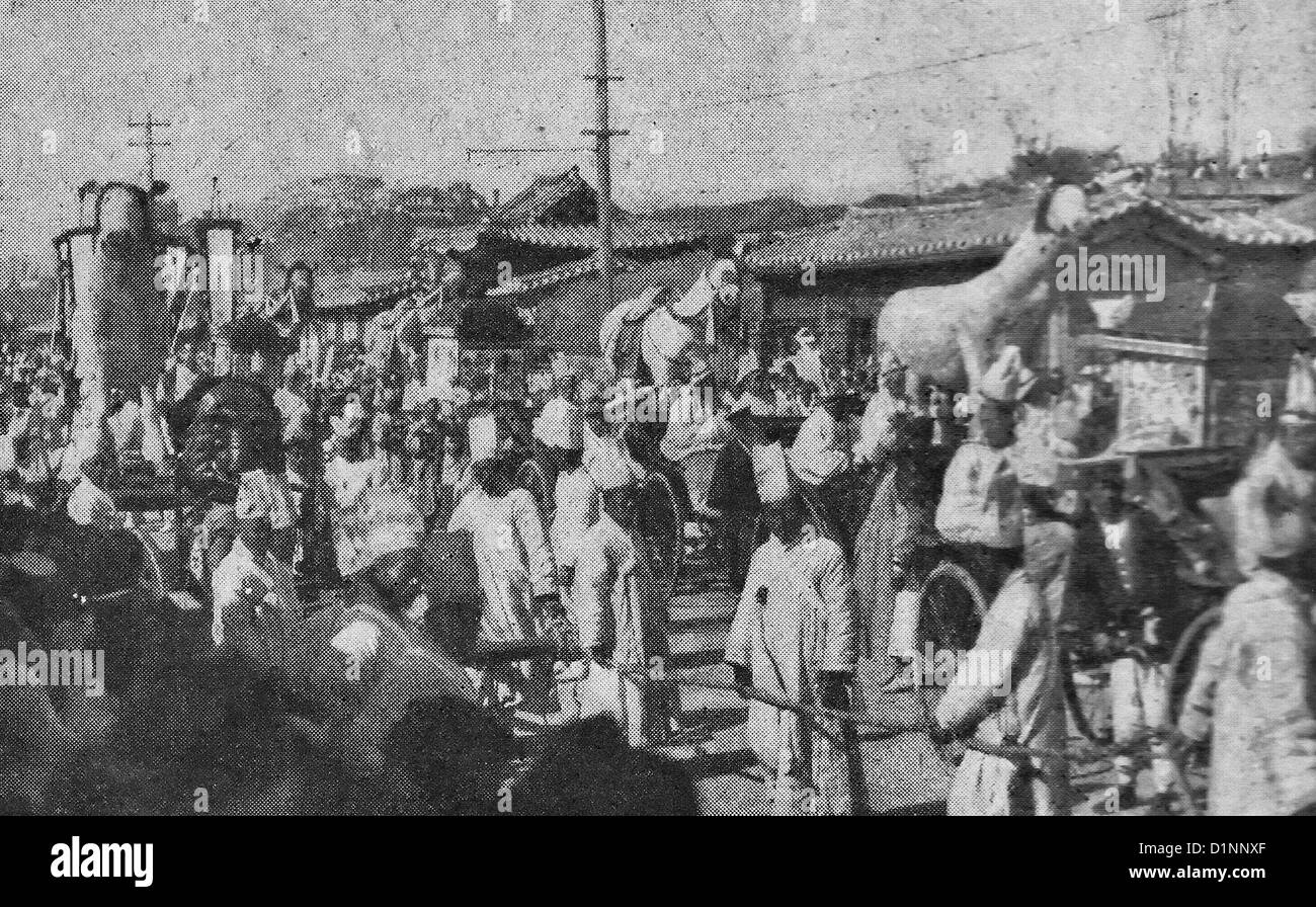 The procession of the funeral for Emperor Gojong of the Korean Empire, 1919 - Stock Image