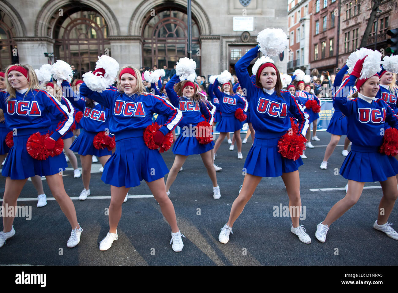 London's New Year's Day Parade 2013, England, UK. 01.01.2013 All American cheerleaders and dancers from - Stock Image