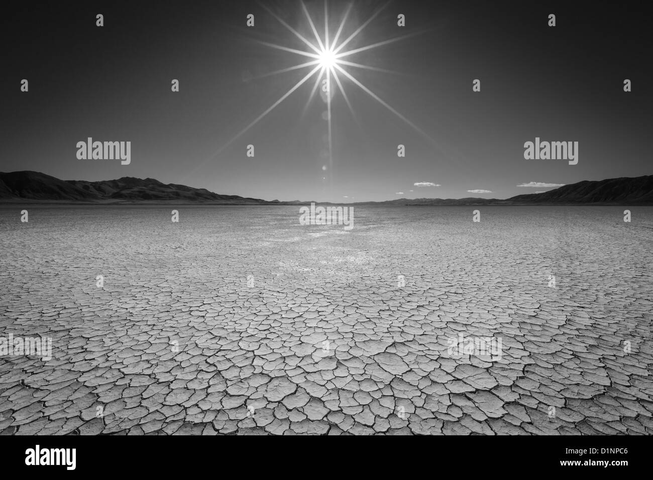 Black and white of the Black Rock Desert in Northern Nevada. Stock Photo