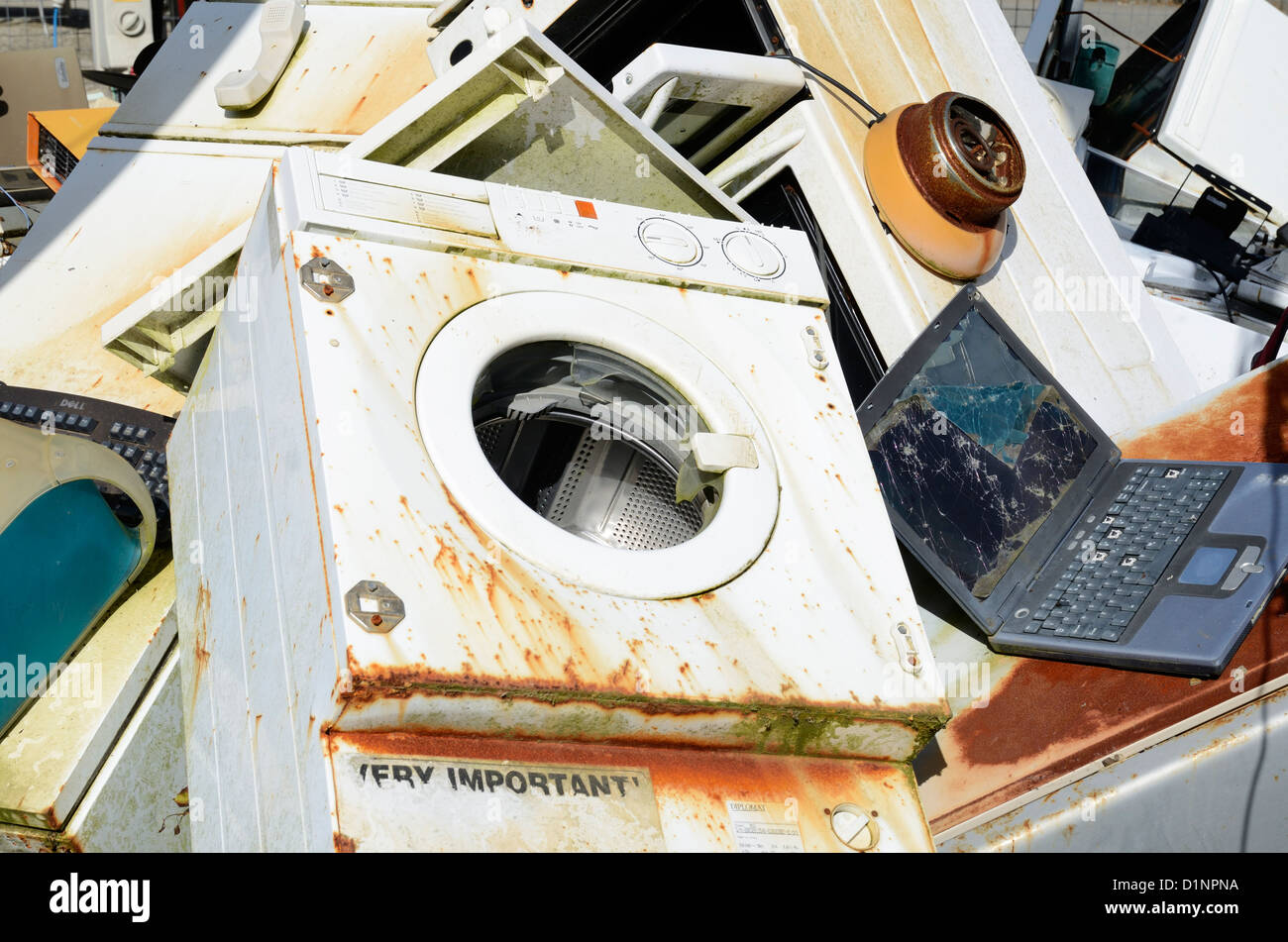 Old household electrical appliances at a recycling center Stock Photo