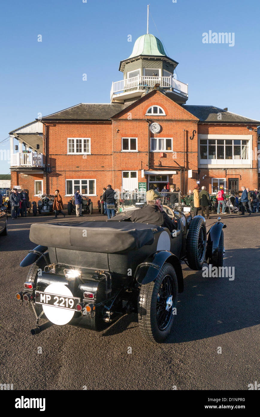 Vintage Bentley arriving at the Brooklands Museum New Year's day gathering. - Stock Image