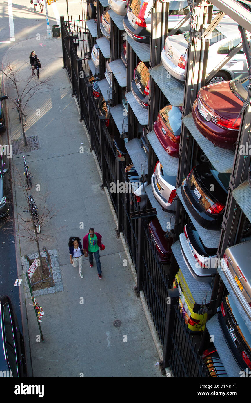New York City elevator car park with stacked cars. - Stock Image
