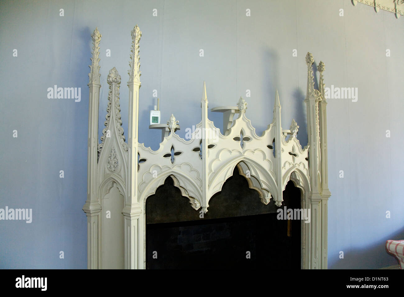 Gothic chimney / mantle piece / chimneypiece / mantlepiece of restored Strawberry Hill House, Twickenham. Middlesex. UK. Stock Photo