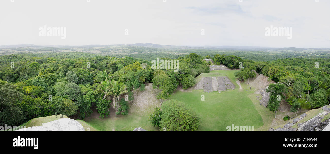 A view from the top of Xunantunich, in western Belize - Stock Image