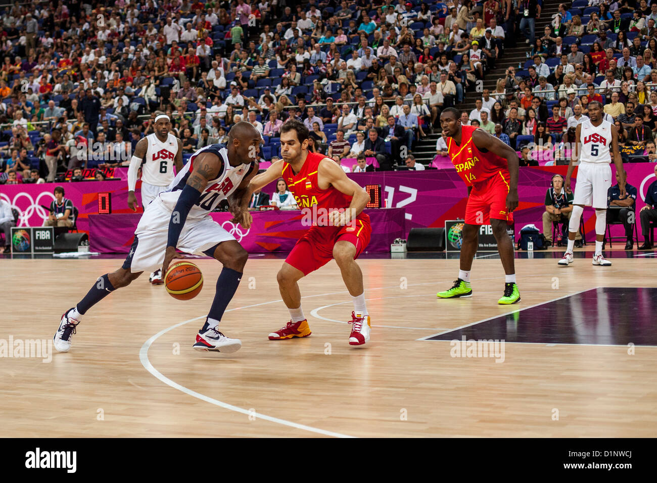 Kobe Bryant (USA) competing in the Gold Medal Men's Basketball Game at the Olympic Summer Games, London 2012 - Stock Image