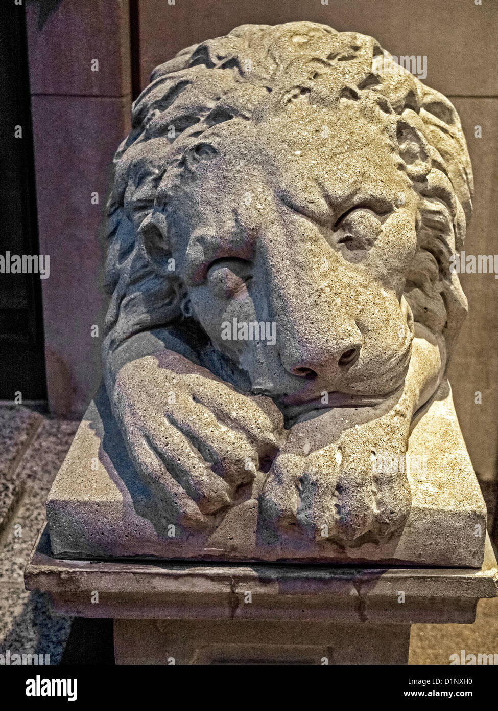 A bashful lion sculpture decorates the Regency Hotel entrance in New York City. - Stock Image